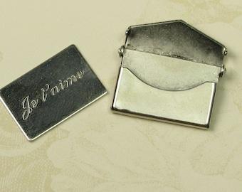 2 Small Antique Silver Brass Message Envelope Je T'aime Letter Envelope Finding 746J