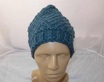 Blue Wool Blend Pixie Hat