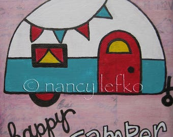 happy camper - 6 x 6 Original Painting on Canvas by Nancy Lefko