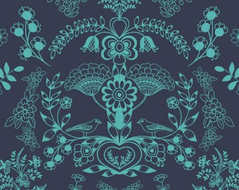 Floralism in Deep Sea (MO-4804) - Modernology by Patricia Bravo - Art Gallery Fabrics - By the Yard
