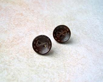 Studs button Ribbon seam dark brown