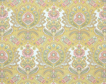 Retro Wallpaper by the Yard 70s Vintage Wallpaper – 1970s Pink Yellow and Blue Damask
