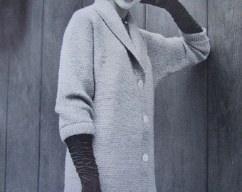 Knitted Sweater Coat Pattern - 1950's Vintage Pattern, Women's Knit Coat PDF 5060