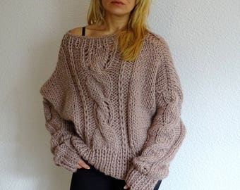 loose knit sweater, bulky sweater, slouchy sweater, oversized sweater, cable knit sweater, bulky pullover, cable knit pulli, ready to ship