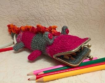 Pencil case kids crochet case kiss clasp frame pencil bag pencil pouch crocodile purse crochet pencil case crochet small bag school supplies