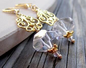 Crystal Quartz Earrings - Wedding Jewelry - Yellow Gold Jewellery - Gemstone - Luxe ER-36