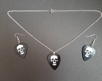 Black & silver Skull guitar plectrum necklace and earring set - alternative/punk/rock/goth