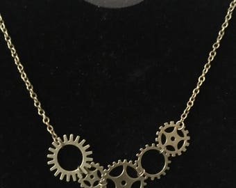 Brass gear steampunk necklace