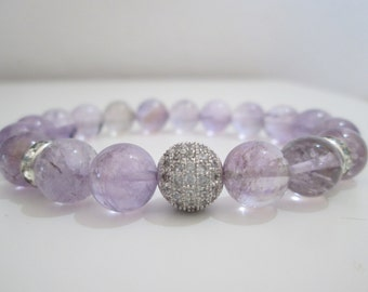 Ametrine, Ametrine bracelet, gemstone bracelet, bracelet for women, gift, gift for woman, Micropave cubic zirconium