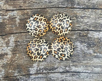 12mm Leopard Print Glass Cabochons