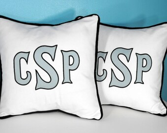 Heritage - Large Font Applique Monogrammed Pillow Cover Set of Two - 16 x 16 square