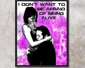 Maggie and Glen Original Pop-Art with Water Colors Print Walking Dead 8x10 11x14