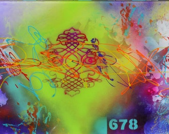 Chakras, modern abstract acrylic painting on plexiglass