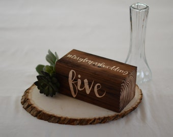 Wooden Wedding Table Numbers with Custom Hashtag - Rustic word table numbers