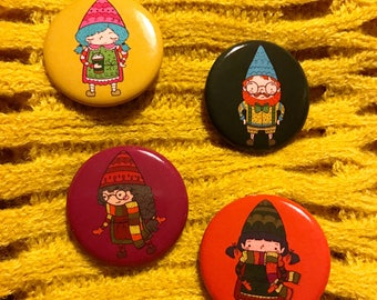 Four Pack, Fall Gnome Friends Pinback Button Set, Gnome Button, Hand Drawn, Artsy Pinback Button