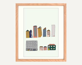 "Buildings A4/8x10"" Art Print on Canvas Paper. Original illustration. Artwork made in Melbourne. Drawing of houses and buildings."