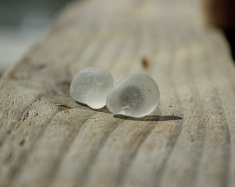 White Frosted Sea Glass Studs/Genuine Sea Glass Earrings
