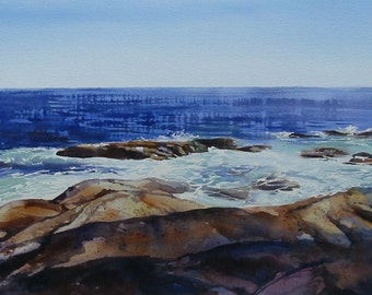 Maine seashore landscape, Seascape, Pemaquid Point Maine, 12 x 18 inch print, Pemaquid rocks, Maine rocks, Maine coast, blue, tans