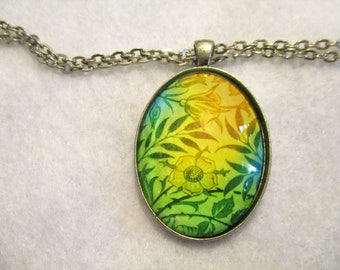 Pretty Green Blue Yellow FLORAL Cabochon PENDANT Necklace MUST See!!!