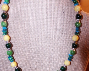 Green yellow Aqua beaded stone and mother of pearl necklace