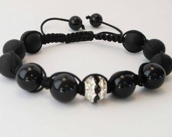 gemstones - matte and shiny onyx Bracelet - B83 fashion bracelet