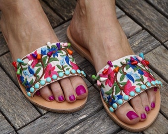 "Handmade leather slippers,""Chloe"" slides,embroidered flowers sandals,semiprecious stones shoes"