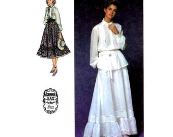 70s Vintage Simplicity 8907 Gunne Sax Jessica McClintock boho skirt blouse Prairie Revival sewing pattern Size 10 or size 7 junior teen