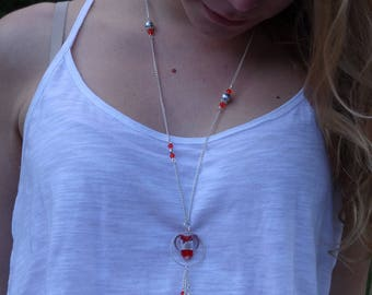 Swarovski Red Crystal Heart Necklace, glass handmade and plated silver