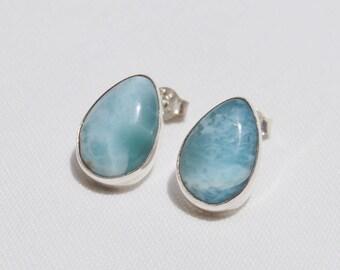 Larimar Earrings, Original And Genuine Dominican AA Marbled Pear Shape Larimar Stones .925, Sterling Silver Post/Stud Earrings Jewelry