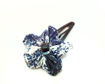 Mother's Day Gift, Tania Bishop Artisan Fabric Flower, Kanzashi hair clip, origami box, blue, silver, black, white, Artisan Gift, Boho Gift