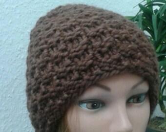 Wool knit cap in brown