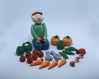 Personalised Handmade Sugar Edible Gardening Gardener Allotment Birthday Cake Topper/Decoration