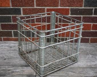 Vintage Metal Milk Bottle Crate - item #2892