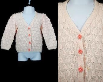 Vintage 80's Kid's Pink Sweater Cardigan