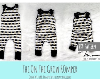 Apple Tree On The Grow Romper *PDF Sewing Pattern* Grow With Me Romper Grow-With-Me Playsuit Baby and Kids Clothing Sewing Pattern