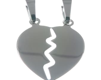 Broken Heart pendant silver 925 sweethearts sweetheart half Sweet