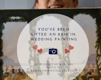 Wedding Anniversary Painting Gift Certificate for ONE Custom Painting from Photo