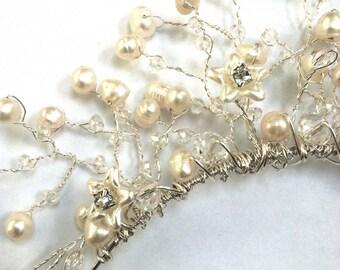 Wedding/Tiara/Freshwater Pearl & Crystal Coral Tiara/Wedding Jewellery/Bridal/Bridesmaid/Wedding Day