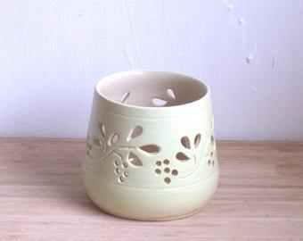 Candleholder. Pottery luminary,  Ceramic Tealight Holder.   Wheel thrown pottery candle holder. ceramic luminary.