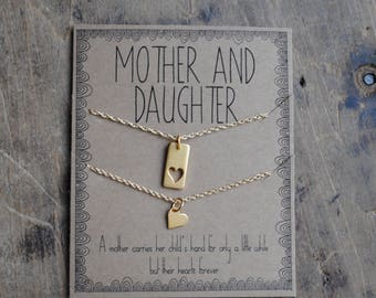 READY 2 SHIP . Mother Daughter Necklace Set  .  a mother carries her childs hand for a little while  .  mother of the bride  set