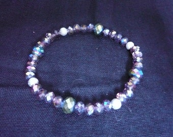 Purple Crystal and Sterling Silver Bracelet on Elastic