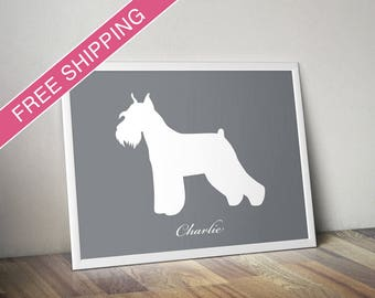 Personalized Standard Schnauzer Silhouette Print with Custom Name (Cropped Ears and Docked) - Schnauzer art, Schnauzer poster