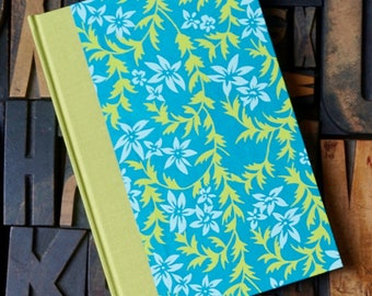 Journal - Small Lined with Teal and Lime Green Floral Pattern