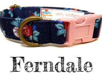 """Vintage Dog Collar - Floral Roses Dog Collar - Girl Dog Collar - Shabby Chic Dog Collar - Antique Metal Hardware - """"Ferndale"""""""
