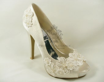 Daisy - Ivory Pearl & Lace Vintage Peep Toe 1, 2, 3, 4, 5, or 6 Inch Mid Kitten Heel Shoes US Size 5 6 7 8 9 10