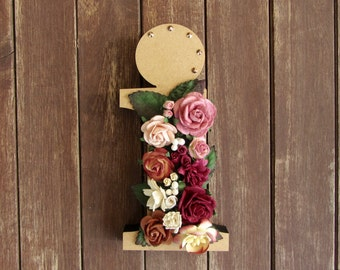Floral Decorated Wooden Letter - lowercase i / wall nursery birthday wedding office decor