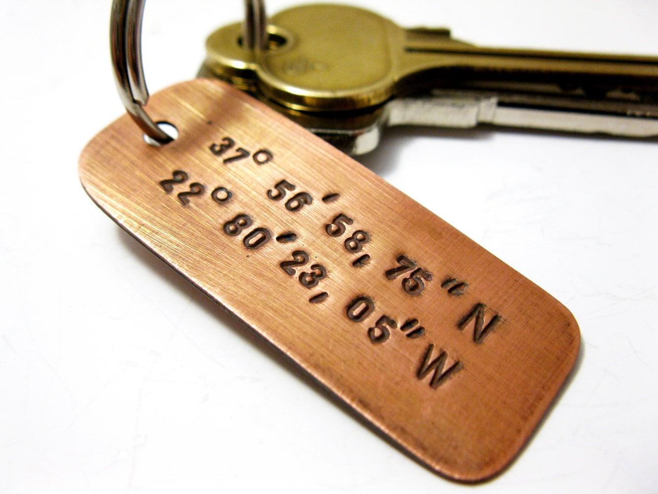 Personalized Latitude Longitude Copper Keychain, Stamped Custom Message, Name Date Initials Coordinates Men Boyfriend Groomsmen Wedding gift