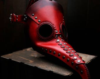 Plague Doctor Mask in Red Leather - CLEAN version without scars - halloween plague doctor costume