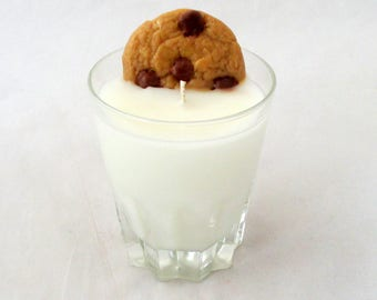 Chocolate chip cookie, cookies and milk, cookie candle, dessert candle, food candle, drink candle, soy candle, soy wax candle, unique candle