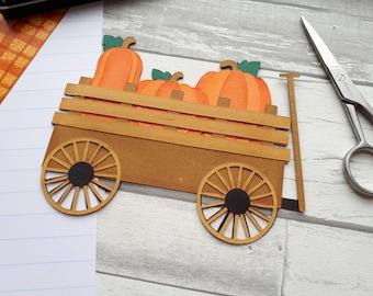 Pumpkin Patch Scrapbook Embellishment -  Fall Scrapbook Paper Piecing - Thanksgiving Pre-made Scrapbook Embellishments - Autumn Pumpkins